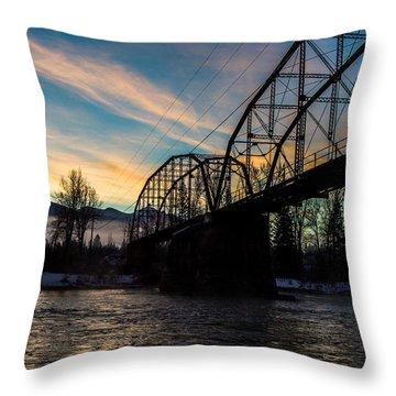 Foggy Bottom Bridge Throw Pillow by Aaron Aldrich