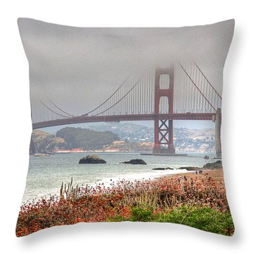 Foggy Bridge Throw Pillow