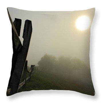 Foggy Country Road Throw Pillow by Lois Bryan