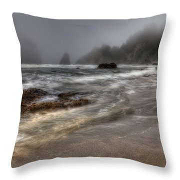 Foggy Day At Trinidad Throw Pillow