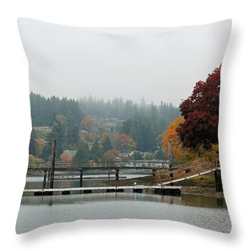 Throw Pillow featuring the photograph Foggy Day In October by E Faithe Lester