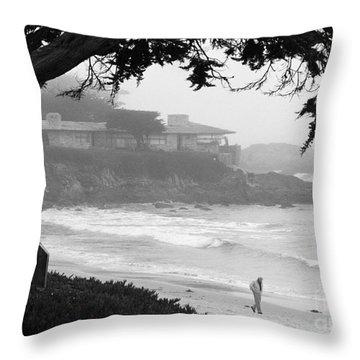 Foggy Day On Carmel Beach Throw Pillow