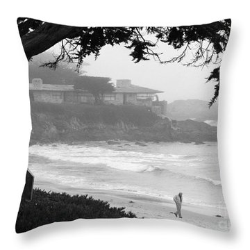 Foggy Day On Carmel Beach Throw Pillow