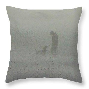Foggy Dog Walk Throw Pillow