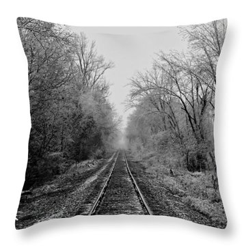 Foggy Ending In Black And White Throw Pillow