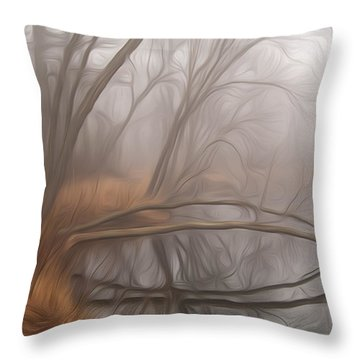 Foggy Fall Morning Throw Pillow