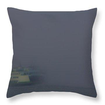 Foggy Ferry Ride Throw Pillow