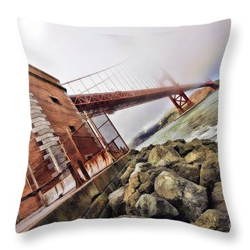 Foggy Gates Throw Pillow