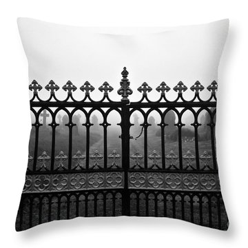 Foggy Grave Yard Gates Throw Pillow by Terri Waters