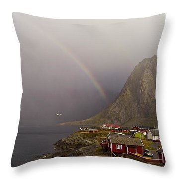 Foggy Hamnoy Rorbu Village Throw Pillow by Heiko Koehrer-Wagner