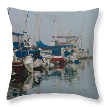 Foggy Harbor Throw Pillow