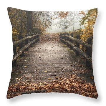 Foggy Lake Park Footbridge Throw Pillow