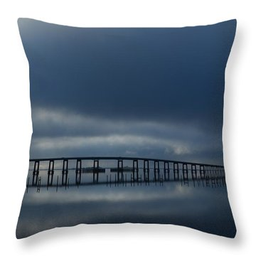 Throw Pillow featuring the photograph Foggy Mirrored Navarre Bridge At Sunrise by Jeff at JSJ Photography