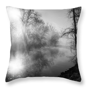Foggy Misty Morning Sunrise On James River Throw Pillow