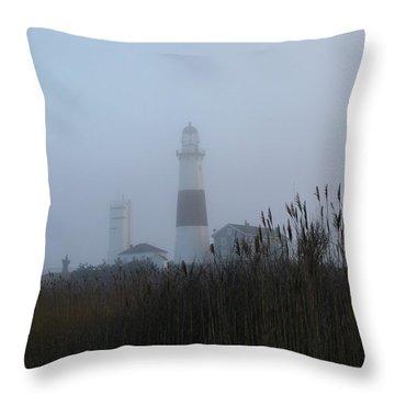 Foggy Montauk Lighthouse Throw Pillow by Karen Silvestri