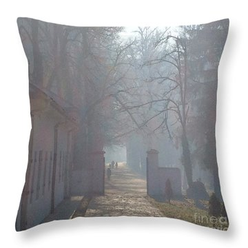 Throw Pillow featuring the photograph Foggy Morn Cetinje Montenegro by Ann Johndro-Collins