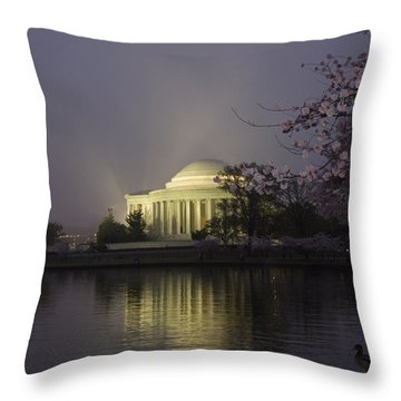 Foggy Morning At The Jefferson Memorial 1 Throw Pillow
