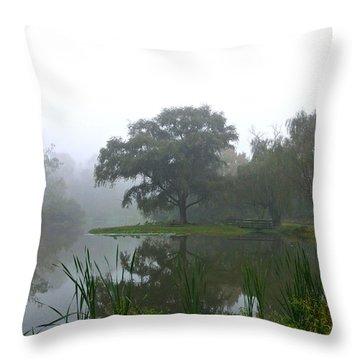 Foggy Morning At The Willows Throw Pillow