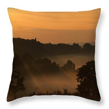 Foggy Morning At Valley Forge Throw Pillow