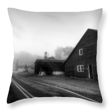 Foggy Morning In Brasstown Nc In Black And White Throw Pillow