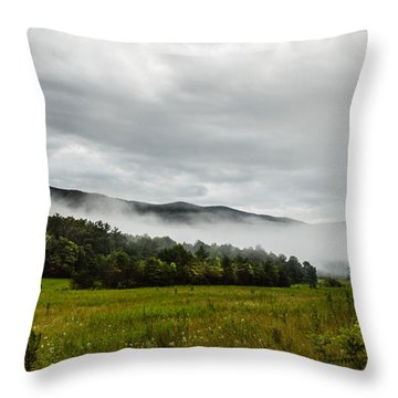 Throw Pillow featuring the photograph Foggy Morning In The Mountains. by Debbie Green