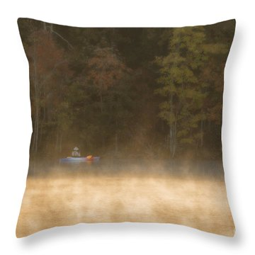 Foggy Morning Kayaking Throw Pillow