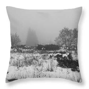 Throw Pillow featuring the photograph Foggy Morning Mountain Snow by Jivko Nakev