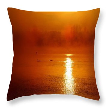 Foggy Morning On The River Throw Pillow