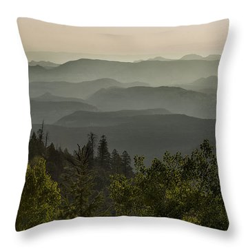 Foggy Morning Over Waterpocket Fold Throw Pillow by Sandra Bronstein