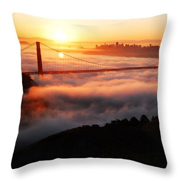 Foggy Morning San Francisco Throw Pillow by James Kirkikis