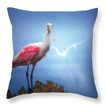 Foggy Morning Spoonbill Throw Pillow by Mark Andrew Thomas