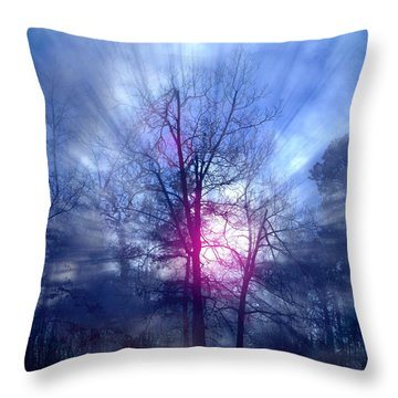 Foggy Morning Sunrise Throw Pillow by Bill Stephens