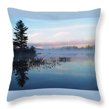 Foggy Morning's Chill -- On Parker Pond Throw Pillow