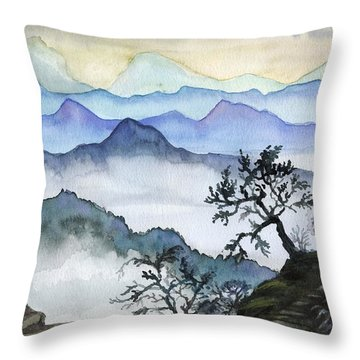 Foggy Mountaines Sunset View  Throw Pillow