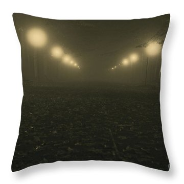 Foggy Night In A Park Throw Pillow