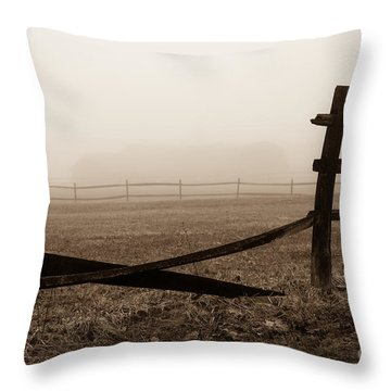 Foggy Pasture Throw Pillow