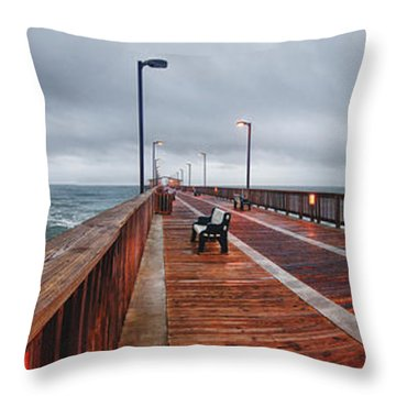Throw Pillow featuring the digital art Foggy Pier  by Michael Thomas