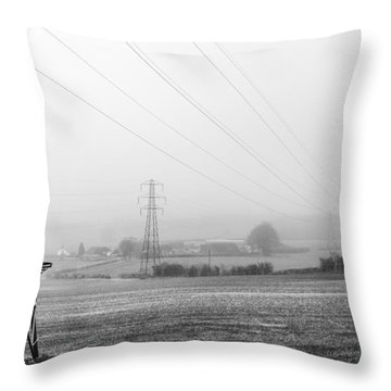 Throw Pillow featuring the photograph Foggy Pylon by Gary Gillette