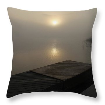 Foggy Reflections Throw Pillow by Debbie Oppermann