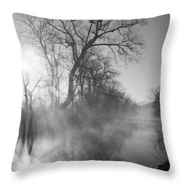 Foggy River Morning Sunrise Throw Pillow