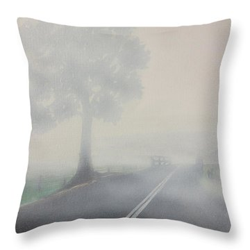 Throw Pillow featuring the painting Foggy Road by Tim Mullaney