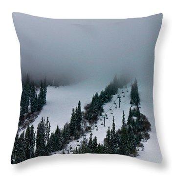 Foggy Ski Resort Throw Pillow by Eti Reid