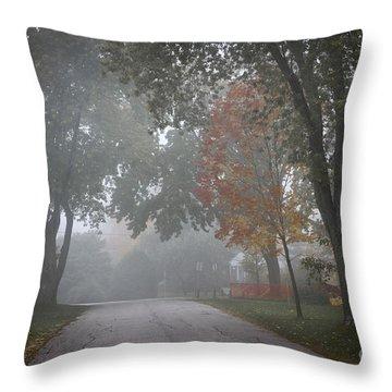 Foggy Street Throw Pillow by Elena Elisseeva