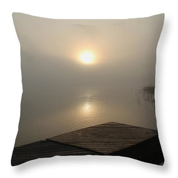 Foggy Sunrise Throw Pillow by Debbie Oppermann