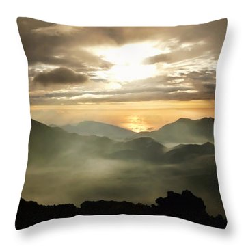 Foggy Sunrise Over Haleakala Crater On Maui Island In Hawaii Throw Pillow