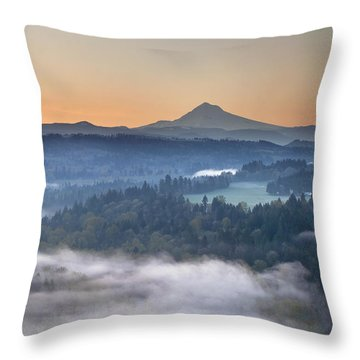 Throw Pillow featuring the photograph Foggy Sunrise Over Sandy River And Mount Hood by JPLDesigns