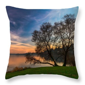 Foggy Sunset At The Lake Throw Pillow