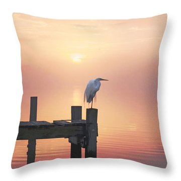 Foggy Sunset On Egret Throw Pillow by Benanne Stiens