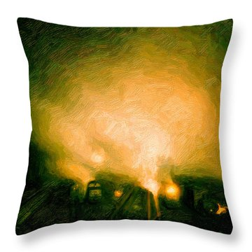 Foggy Switchyard Throw Pillow