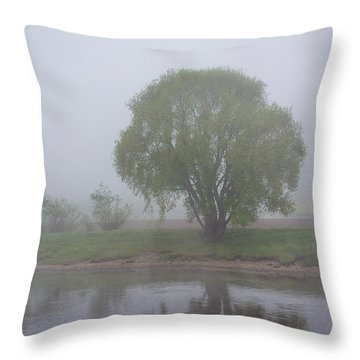Foggy Elbe Tree Throw Pillow